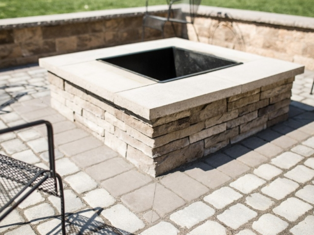 As one of the top stone patio installation companies in Camp Hill PA, this means we can enhance your projects like no one else. Check out this fire pit we also installed for one of our amazing clients. This image is a close up of the construction of the fire pit.