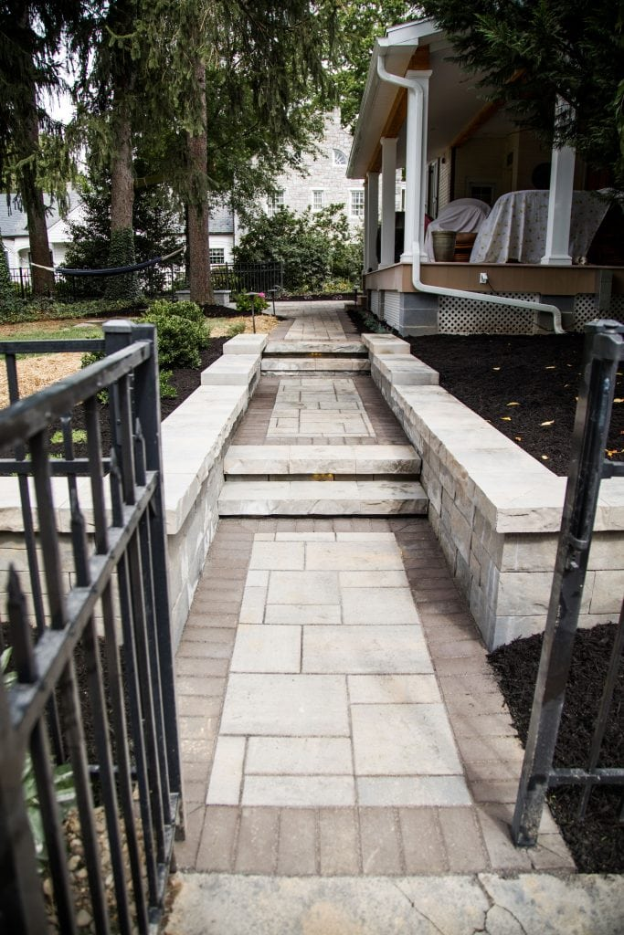Here is a recent project our walkway installers completed in Harrisburg PA. The walkway is multilevel with stairs.